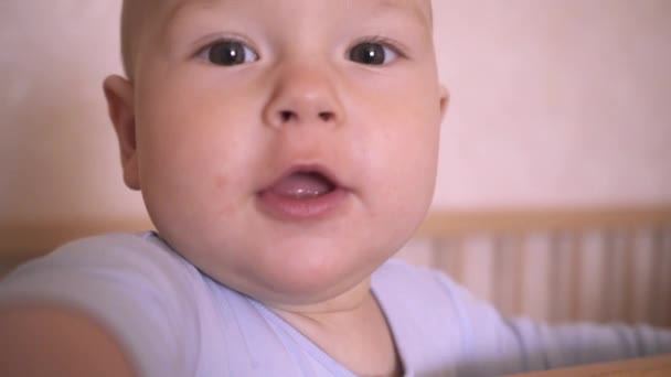 Cute Baby Close-up. Child Looks At Camera And Reaches Hand. Nine-month baby boy in a crib in the nursery