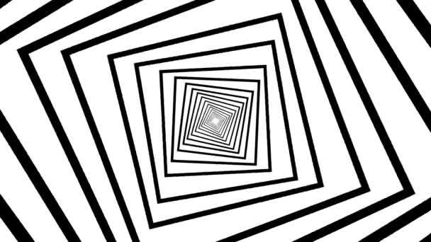 Abstrakte CGI-Bewegungsgrafik und animierter Hintergrund mit weißem Hintergrund und schwarzen Rotationsquadraten. 4K-Animationsfilm