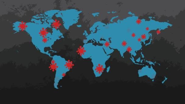 Animation of virus infection on the planet. Coronavirus. Virus. 4K video
