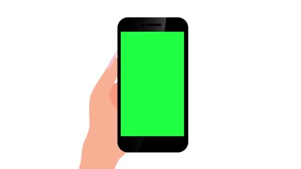 Ruční dotyková gesta s animací chytrého telefonu. luma matte.4k video