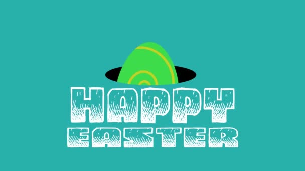 happy easter animated card with eggs. 4k video animated