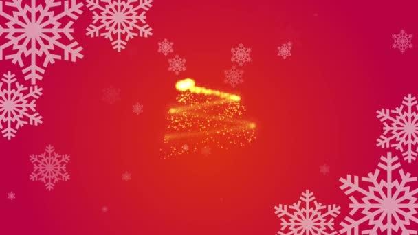 Veselé Vánoce a šťastný Nový rok pozdravy na červeném pozadí s rotující sněhové vločky a kresba vánoční strom