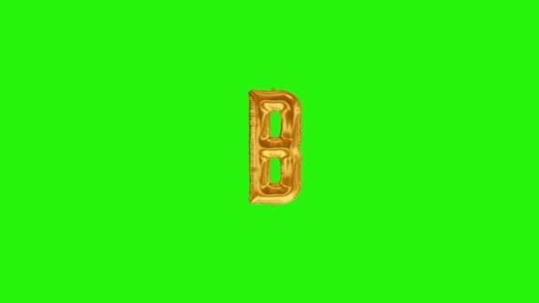 Golden letter B. Gold foil helium balloon alphabet floating on green screen