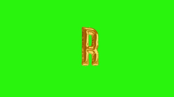 Golden letter R. Gold foil helium balloon alphabet floating on green screen