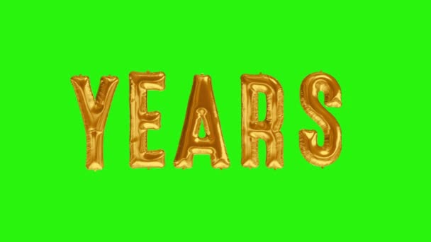 Word YEARS from helium golden balloon letters floating on green screen