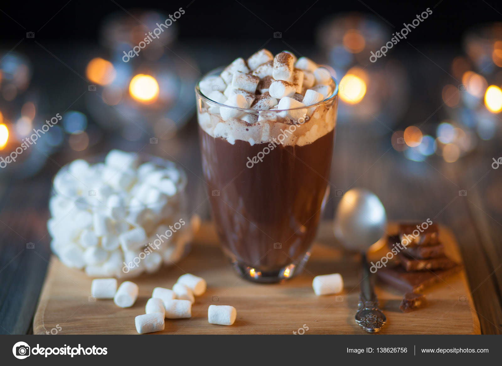 Beautiful Composition Hot Chocolate With Marmalade And Pieces In A