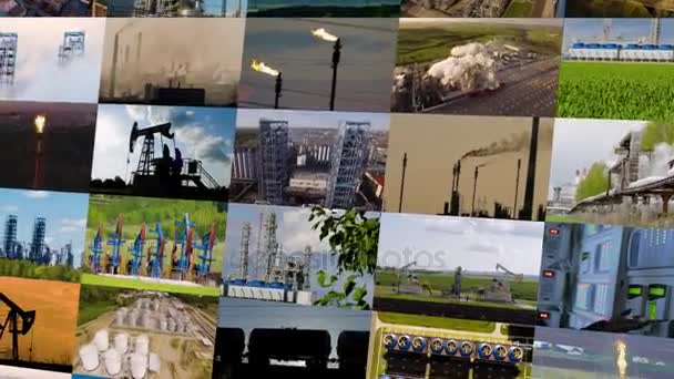 Ropy a zemního plynu průmysl koláž. 4k
