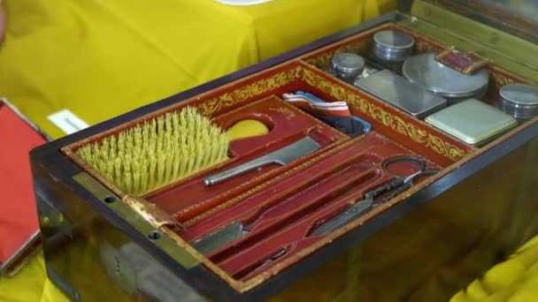 vintage antique toiletry case woman or mens grooming beauty accessories and products in 18th-19th century. Exposition in the Museum.