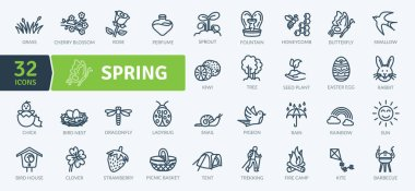 Spring Equipment Icons Pack. Thin line icons set. Flaticon collection set. Simple vector icons icon