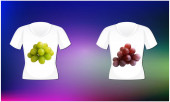 mock up illustration of couple wear with grapes art on abstract background