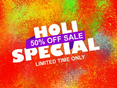 Holi Special Offer Sale with 50% discount with colorful background. stock vector