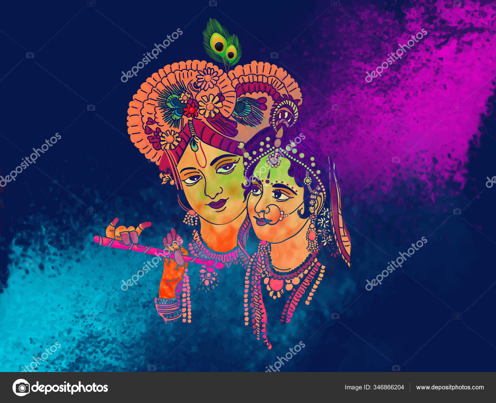 depositphotos 346866204 stock illustration radhe krishna illustration colorful holi