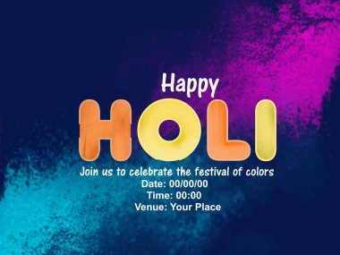 Happy Holi celebration. Colorful background with colorful holi text. stock vector