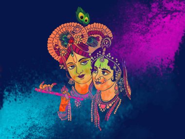Radhe Krishna Illustration with colorful holi background. Festival of colors and happiness. stock vector