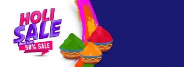 Happy Holi. Festival of colors and happiness. holi sale text banner with colorful buckets with 50% discount offer with brush background. stock vector