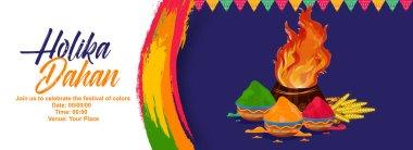 Happy Holika Dahan . Holika Dahan holi card with bonfire and wheats and buckets of colors. stock vector