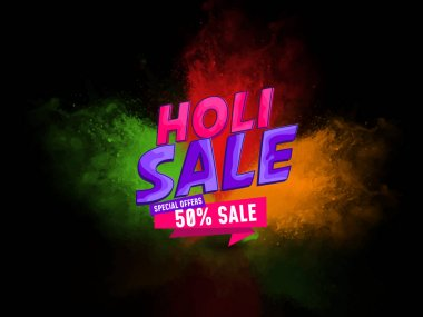 Tri color dark background with holi sale text with 50% sale. Use for banner, poster, sale, advertisement, promotion. stock vector