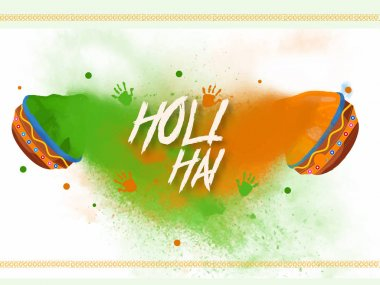 Creative design and poster for happy holi. A joyful and colorful festival of hindu's with colorful pots, hands. stock vector