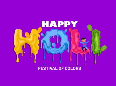 Creative Poster design Color Splash holi design with a cute liitle boy playing holi. stock vector