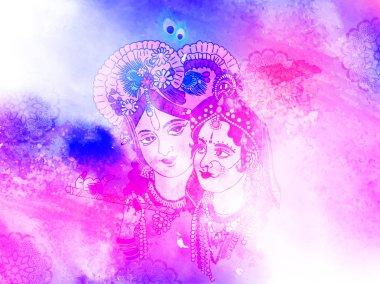Goddess Radha lord Krishna Illustration with colorful holi background. Happy holi. stock vector
