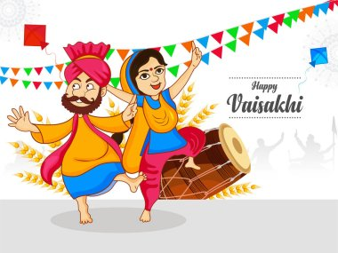 Happy vaisakhi, Baisakhi festival celebration with punjabi culture of india punjabi people dancing bhangra. Cute characters. stock vector