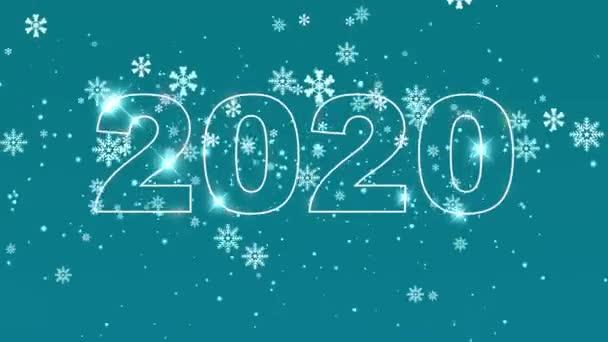 Kvalitní set Nový rok animace. Text 2019 přepíná do roku2020. Šťastný nový rok. Rozlišení 4k Uhd