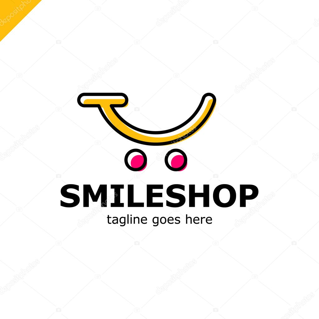 abstract colorful template logo for the shopping cart icon and smile