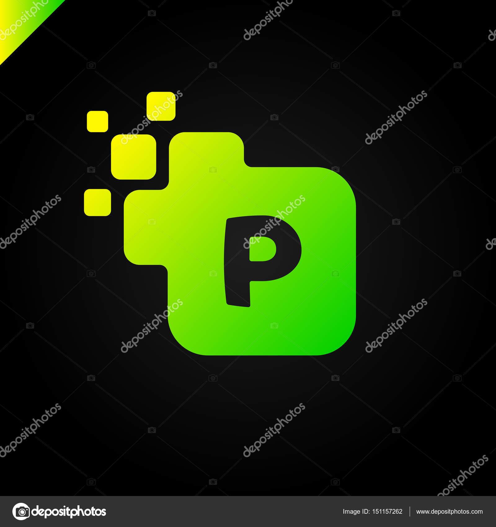 Business Corporate Square Letter P Font Logo Design Vector Colorful Digital Alphabet Template For