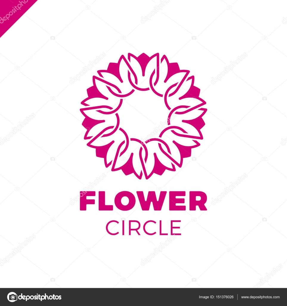 Blume Logo Kreis abstrakte Vektor Entwurfsvorlage. Tulpe-Spa-Symbol ...
