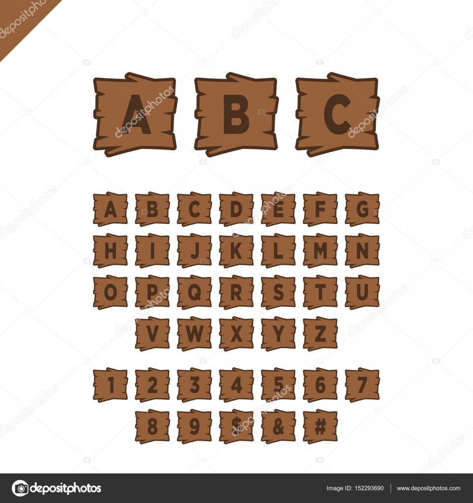 Hölzerne Alphabet Blöcke mit Buchstaben und Zahlen in Holzstruktur ...