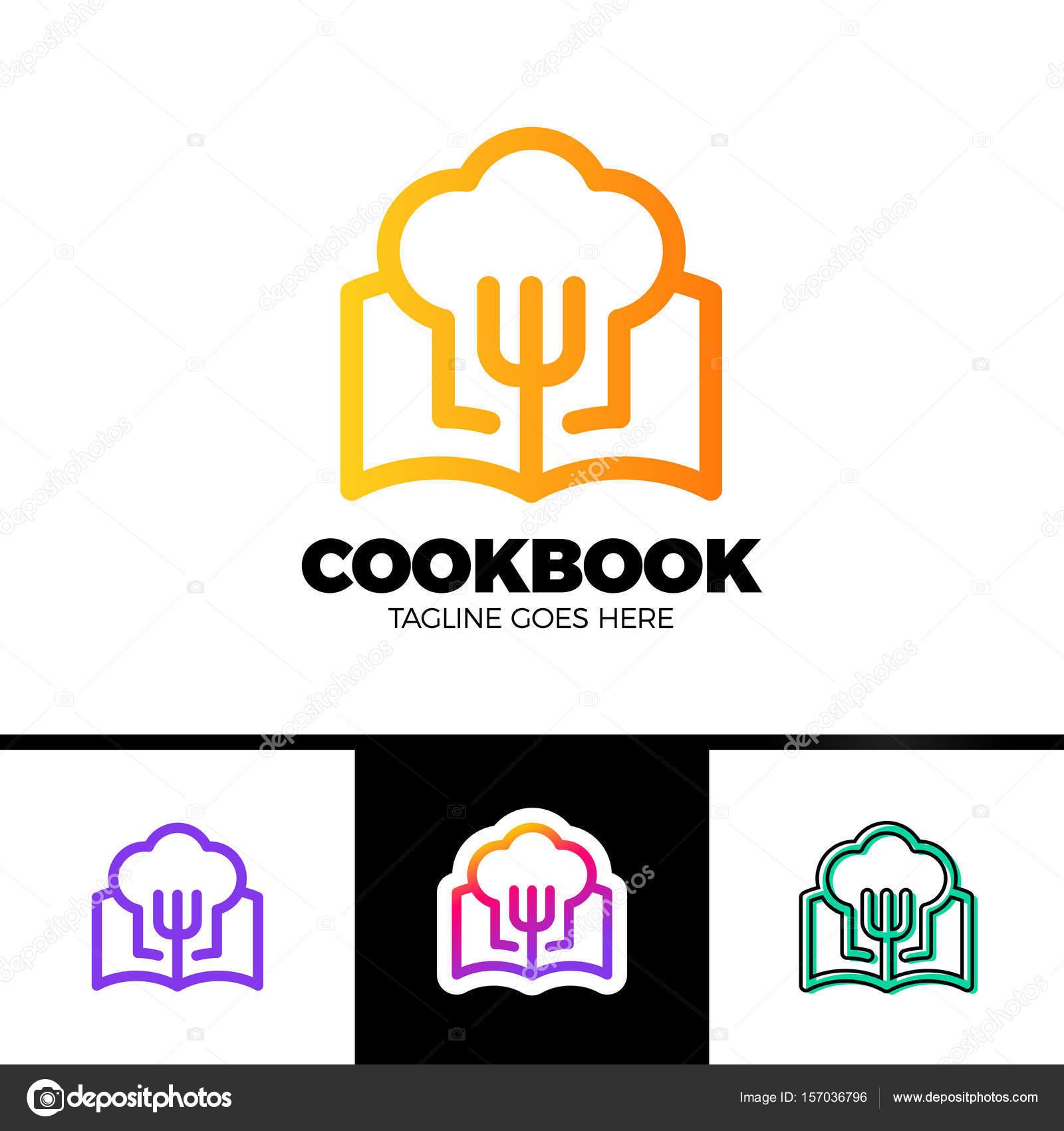 Rezept Buch Vorlage Logodesign in Umriss-Stil Vektor-Design ...