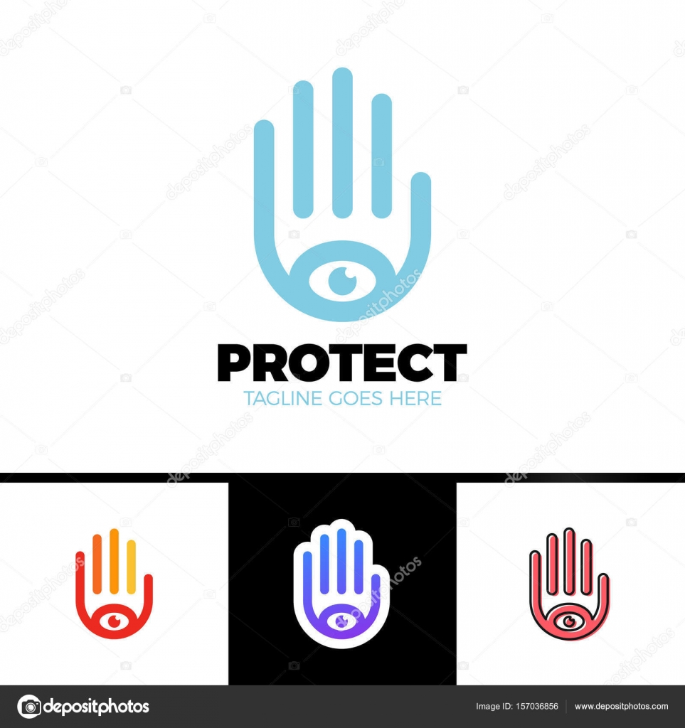 logo of a stylized hand with eye symbol this logo is suitable for rh depositphotos com security company logo samples security company logo maker