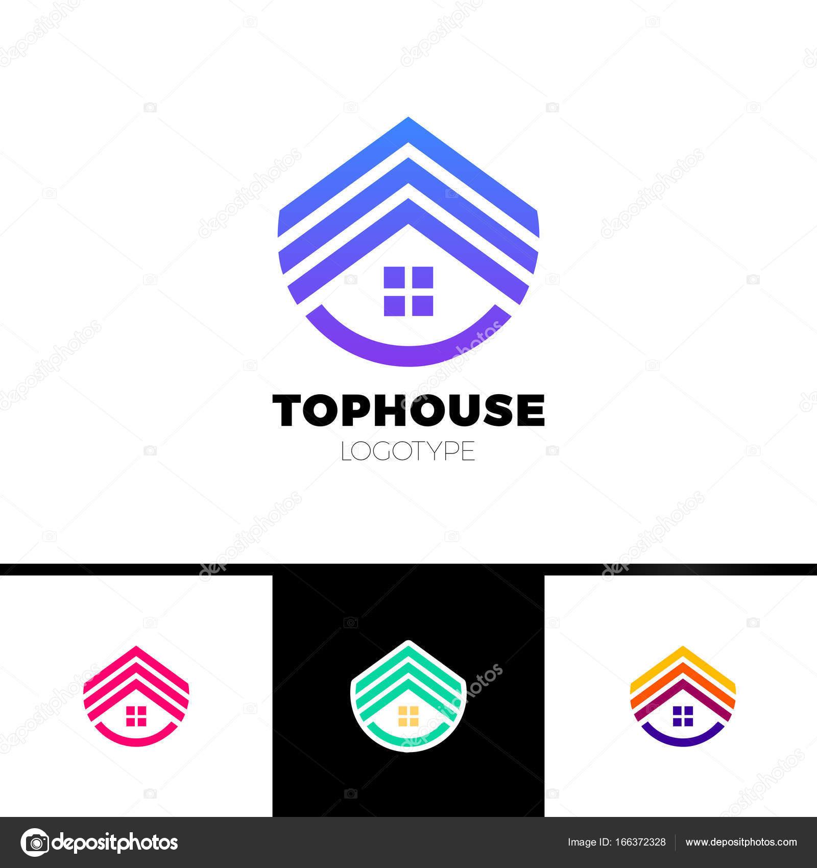 Logotipo de casa de bienes raíces. Flecha superior arriba logotipo ...
