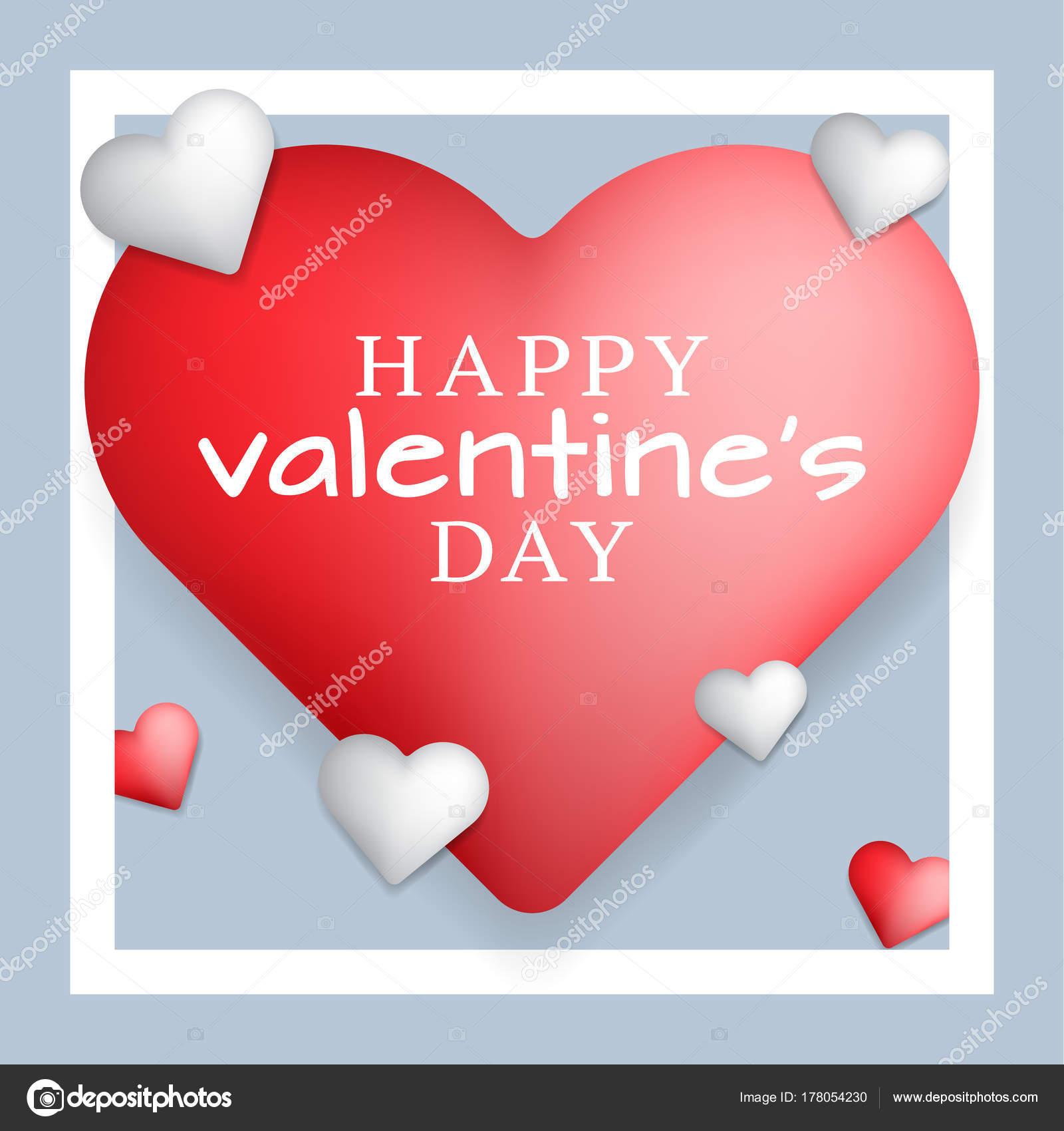 Día de San Valentín concepto blanco y rojo corazones con marco ...