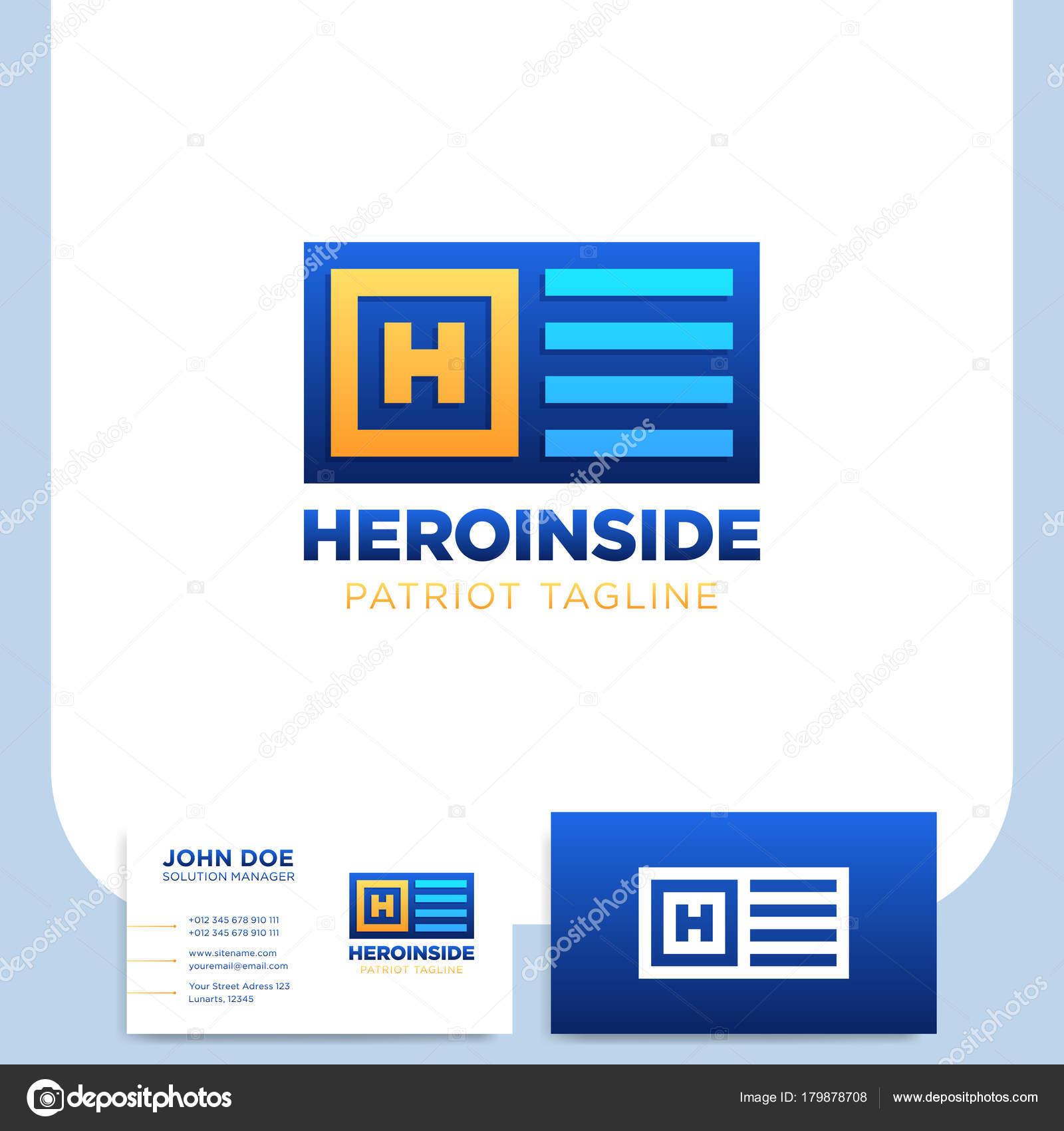 Held Einfach H Brief Logo Im Quadrat Und Flag Vorlage Mit