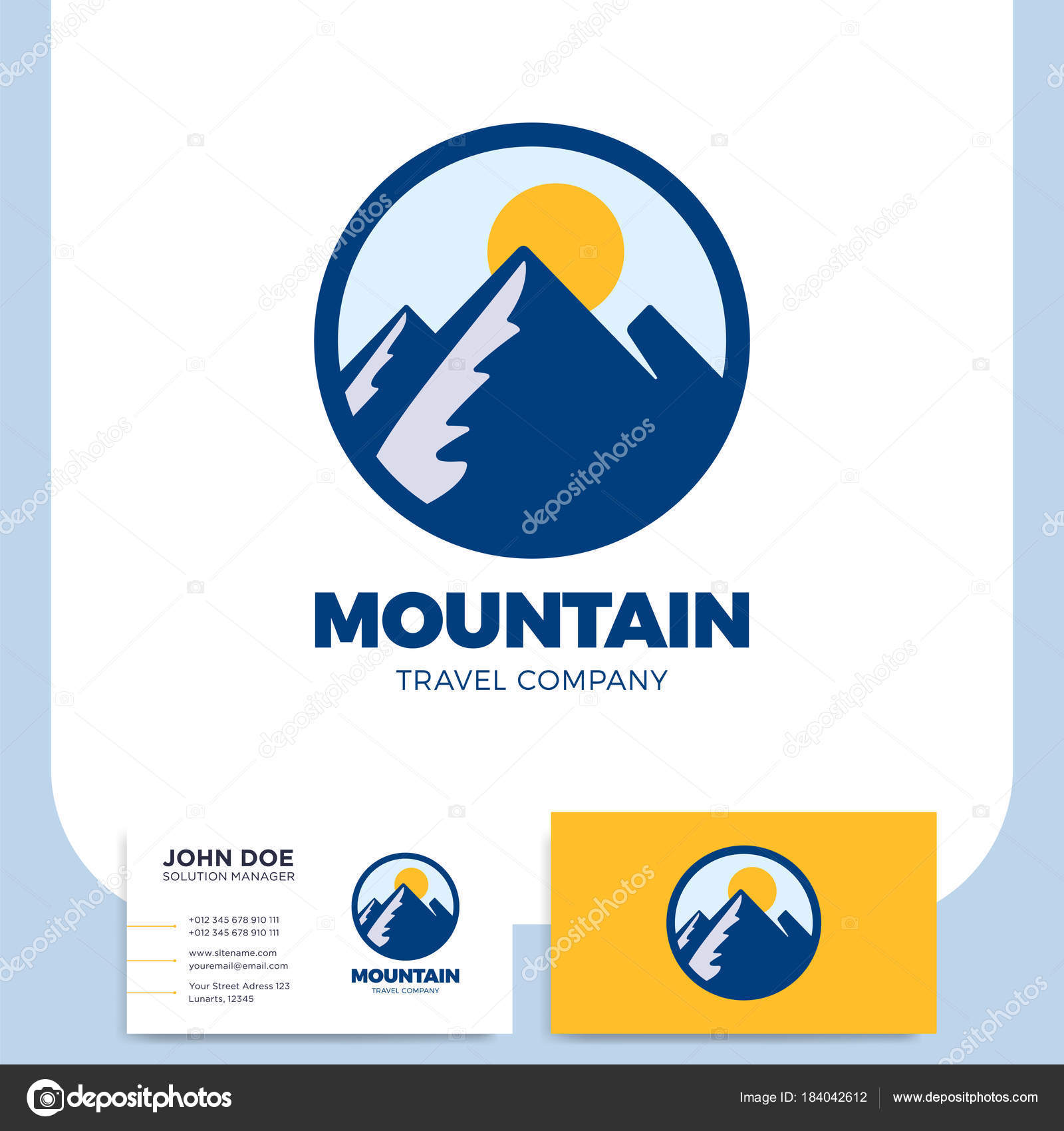Mano de montaña dibujado logo plantilla diseño elemento estilo ...