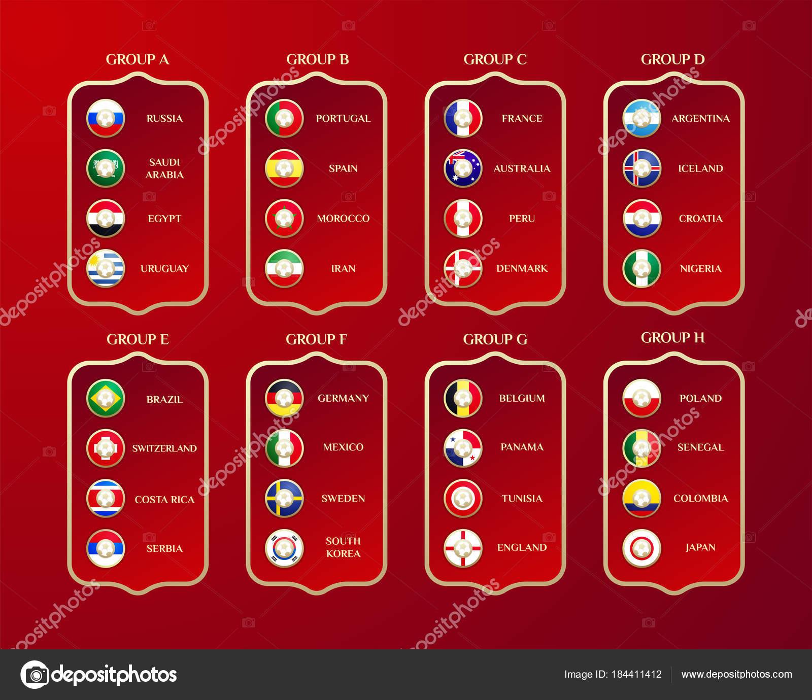Fussball Welt Meisterschaft Gruppen Vektor Landerflaggen