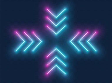 Neon arrow sign. Blue and pink Glowing neon arrow pointer in fou