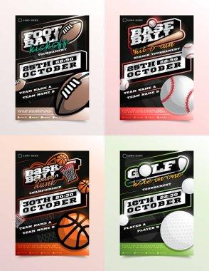 Sport Flyer Ad Set Vector. Football, Golf, Baseball, Basketball