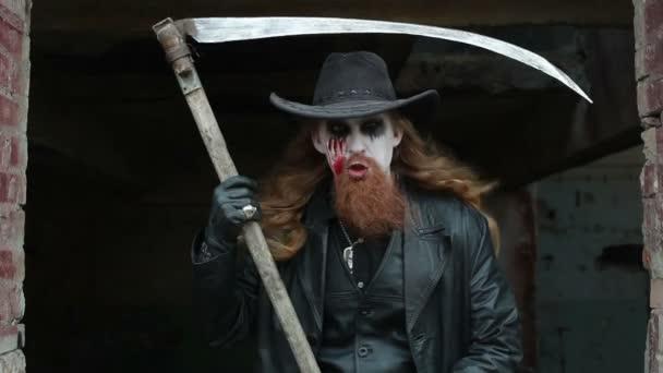 Maniac with a scythe.