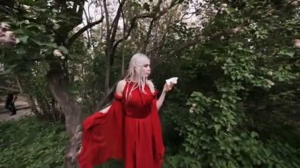 Víla elf žena s bílým květem, ona je v lese.