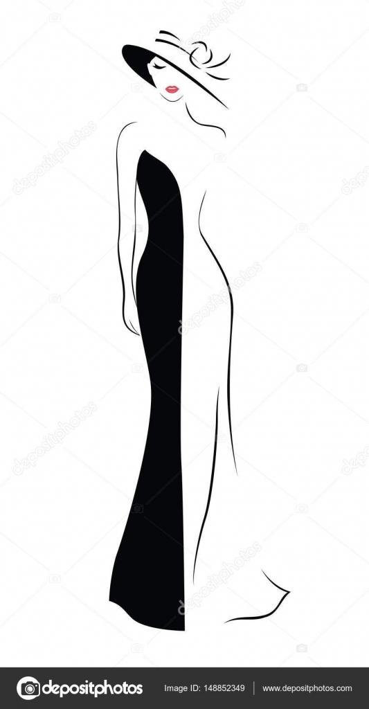 54e8147c427 Эскиз длинного платья. Женщина в шляпе и длинное платье — Векторное ...