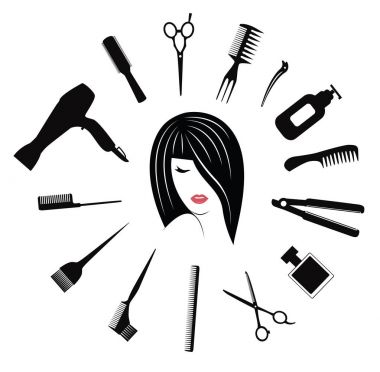 hairdressing equipment with woman face avatar