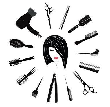 Hairdressing icons set for woman