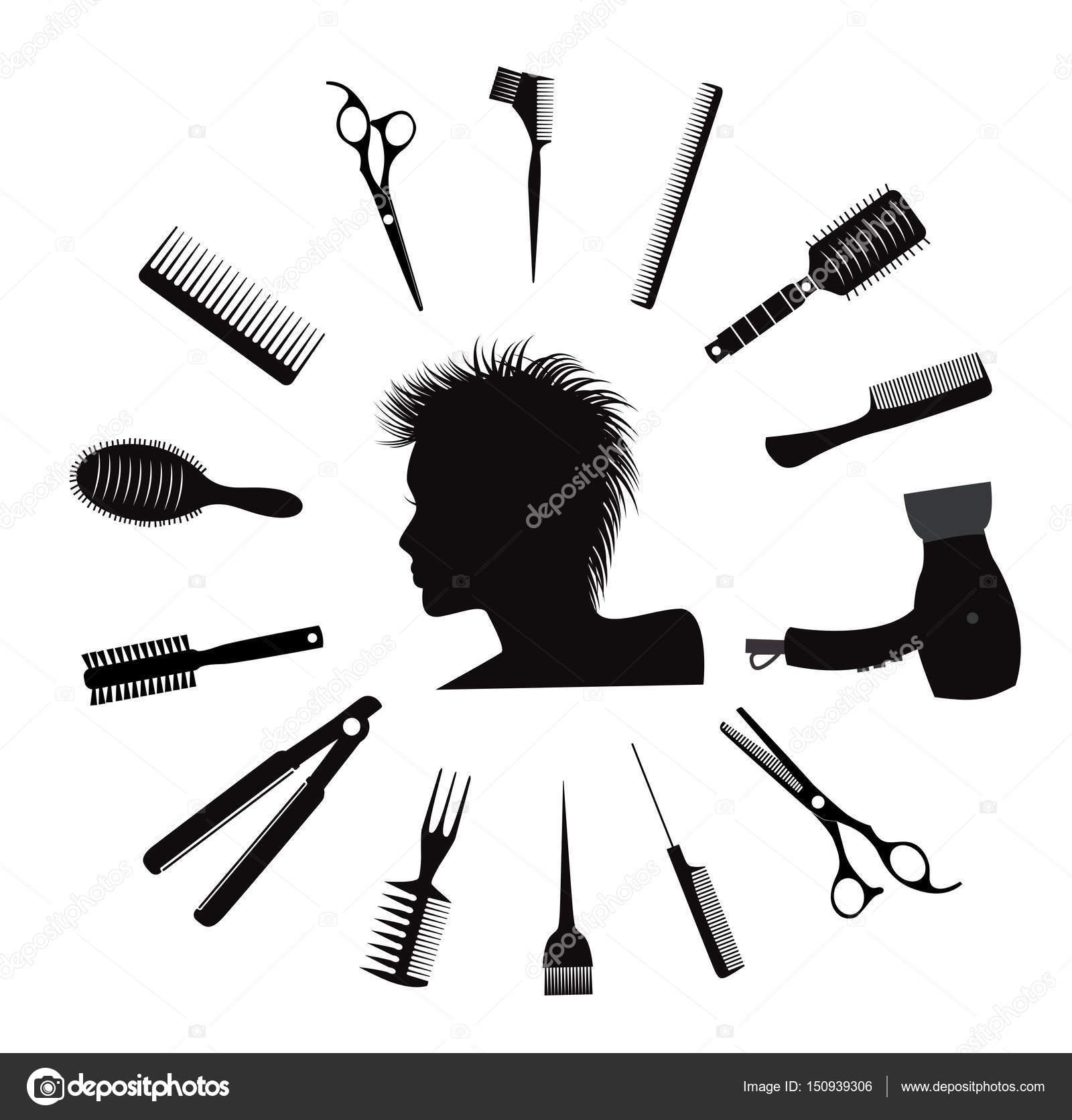 Жінка силует з іконками Перукарське обладнання. Вектор — Вектор від Lagodka 5b62aac1b6918