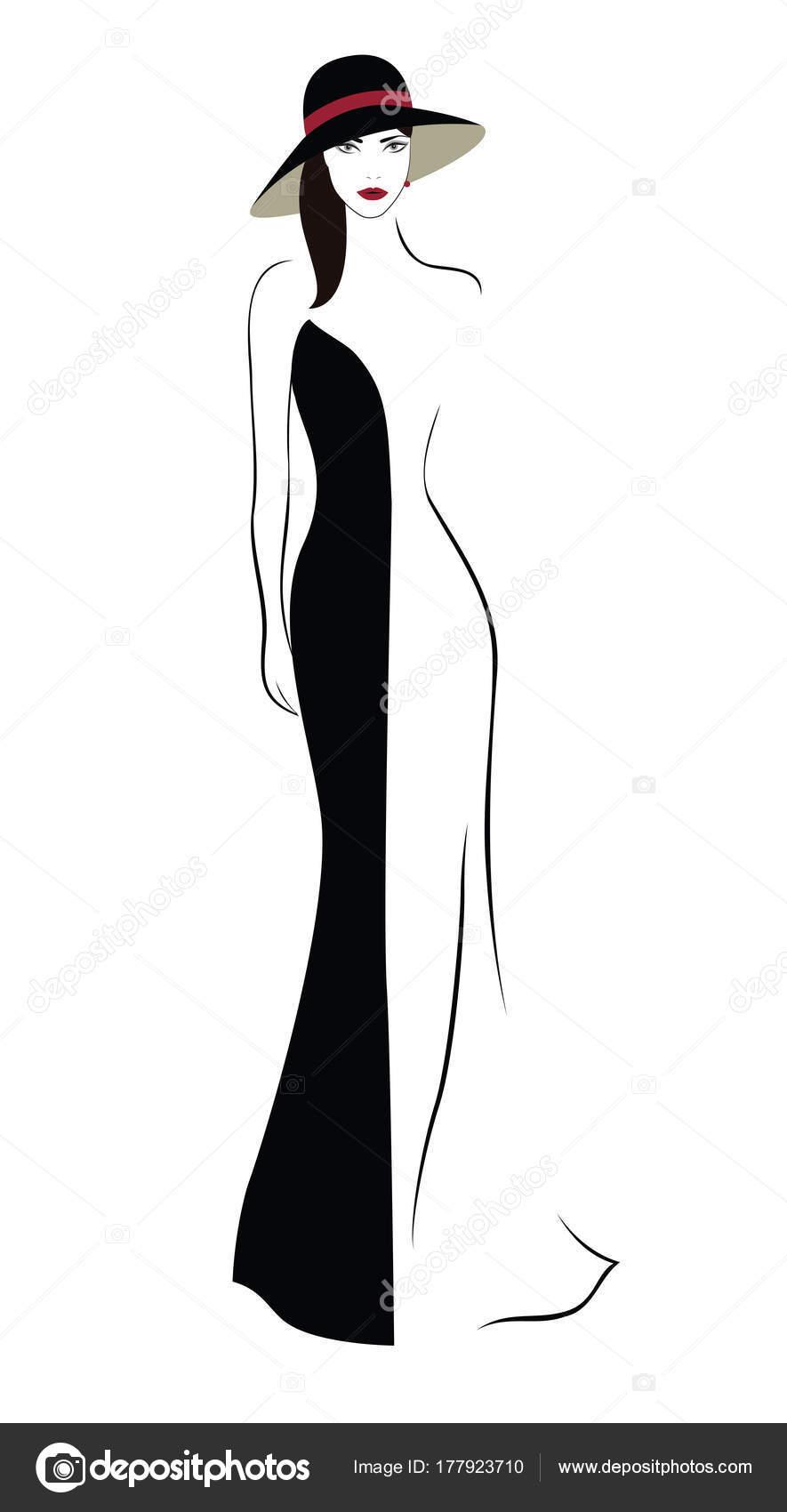 Cartoon Character Beautiful Woman Hat Black White Dress Stock