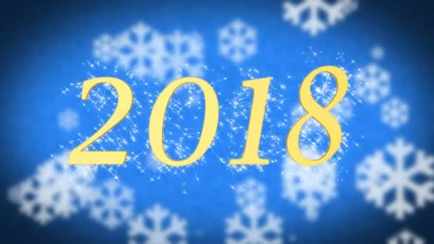 2018 creative new year celebration message on blue snowy background screensaver stock video