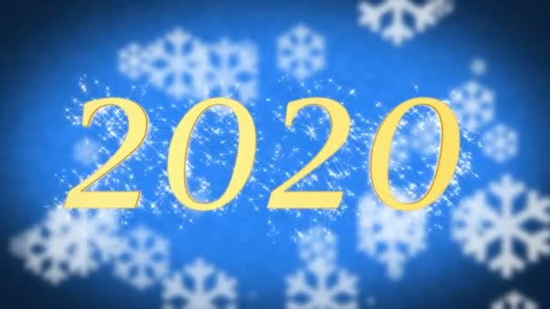 2020 creative new year celebration message on blue snowy background screensaver stock video