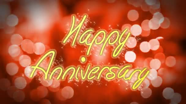 Romantic Happy Anniversary Congratulation Message On Red Background