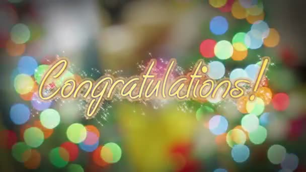 Shiny Congratulations Message Birthday Anniversary New Years Eve Greeting Stock Footage